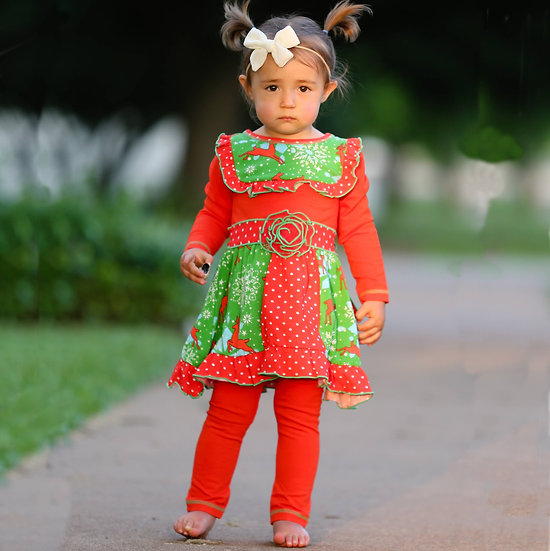 Christmas Deer Dress and Legging Set