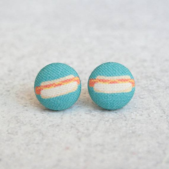 Fabric Button Food Earrings