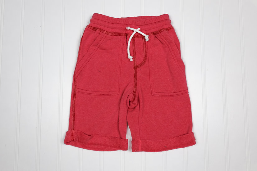 Red Cuffed Pull-on Shorts