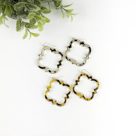 Quatrefoil Tortoise Earring