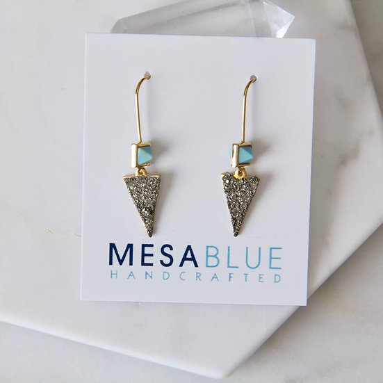 Turquoise and Pyrite Triangle Earring