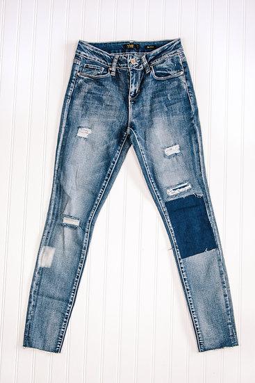 YMI Patchwork Raw Edge Skinny Jean