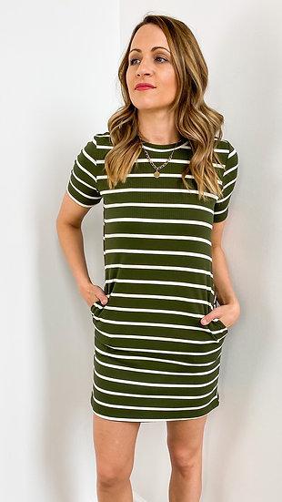 Olive Striped Ribbed Dress