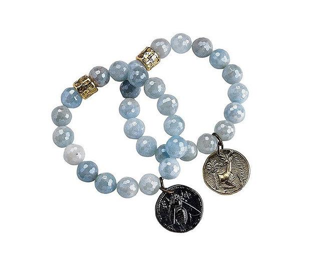 Aquamarine Coin Replica Stretch Bracelet
