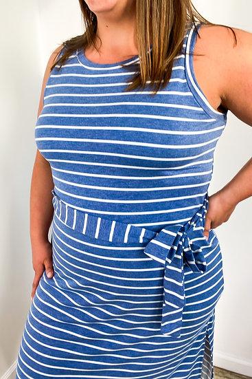 Plus Denim Blue Striped Dress