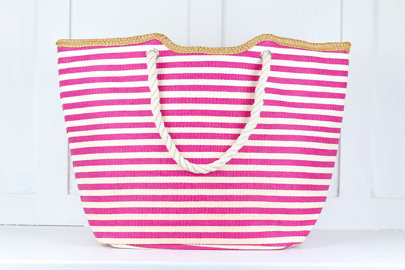 Pink Striped Beach Tote