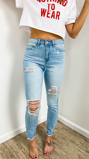 DreamFit High-rise Torn Skinny Denim