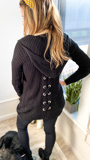 Hooded Lace Up Cardigan