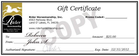 Rider Horsemanship Gift Certificate