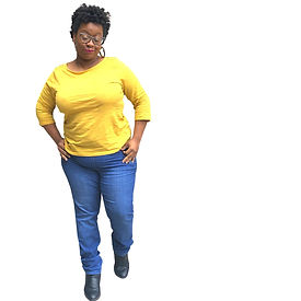 picture of glynda in a yellow long sleeve shirt and blue jeans.