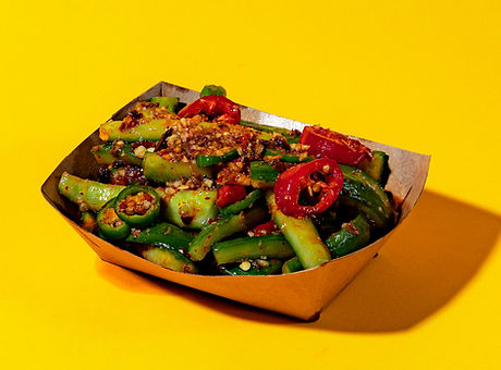 WingSlut's chilled cucumber side dish in San Francisco.
