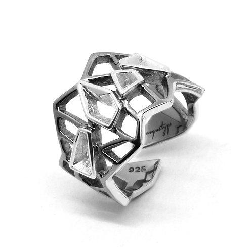 WIREFRAME Ring / Black - White Gold