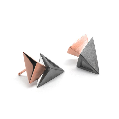 BERMUDEZ Earrings / Gun Metal - 18K Rose Gold