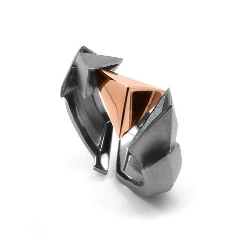 BERMUDEZ Ring (S) / Gun Metal - 18K Rose Gold