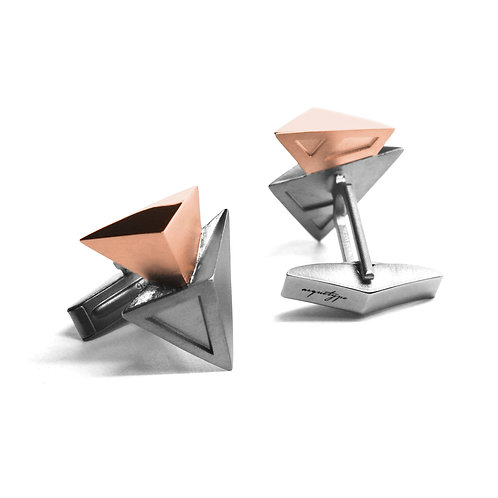 BERMUDEZ Cufflinks / Gun Metal - 18K Rose Gold