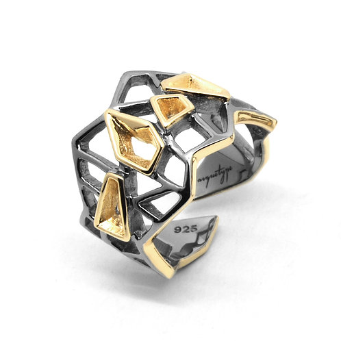 WIREFRAME Ring / Black - 18K Yellow Gold
