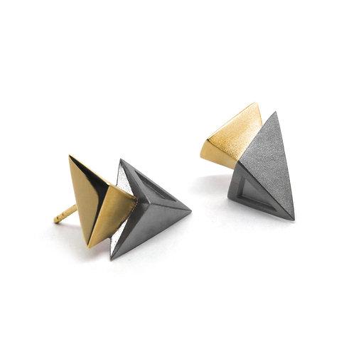 BERMUDEZ Earrings / Gun Metal - 18K Yellow Gold