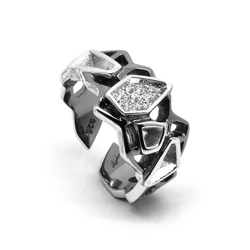 Diamond WIREFRAME Ring (S) / Black - White Gold