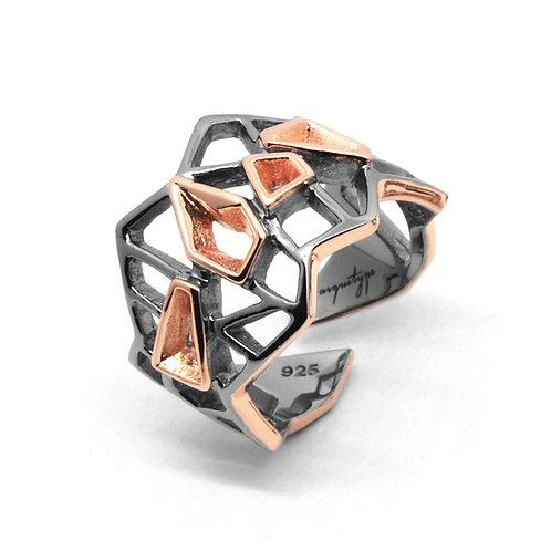 WIREFRAME Ring / Black - Rose Gold