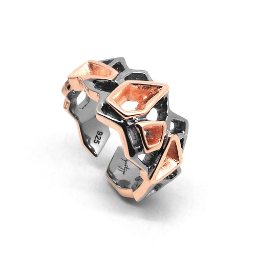 WIREFRAME Ring (S) Black - 18K Rose Gold