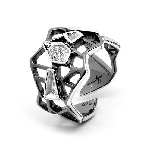 Diamond WIREFRAME Ring / Black - White Gold
