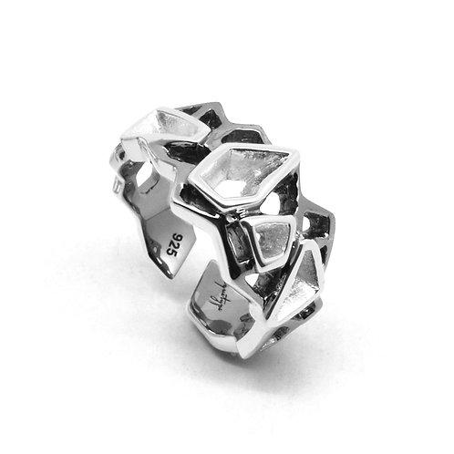 WIREFRAME Ring (S) Black - White Gold