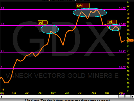 Gold Miners (GDX) more downside to come