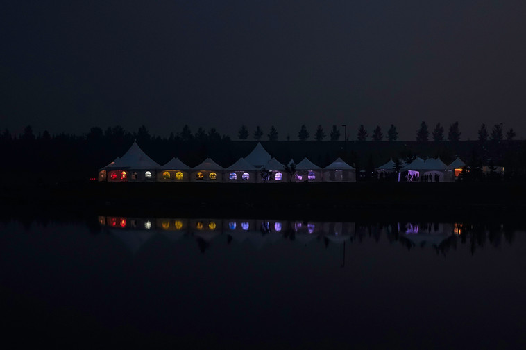 GlobalFest Calgary tents at night