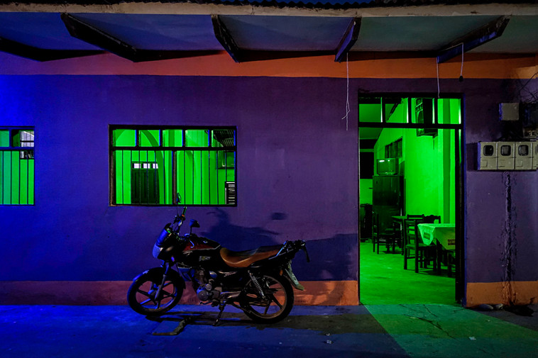 Colourful disco at night