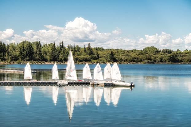 Sailing boats at Glenmore Dam, Calgary, Alberta, Canada