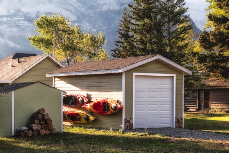 Canoes hanging on wall in Waterton, Alberta, Canada