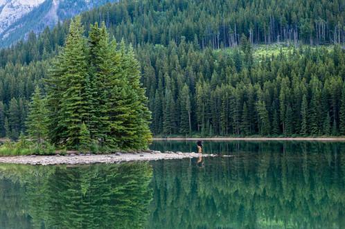 Taking photos at Two-Jack Lake, Banff, Alberta, Canada
