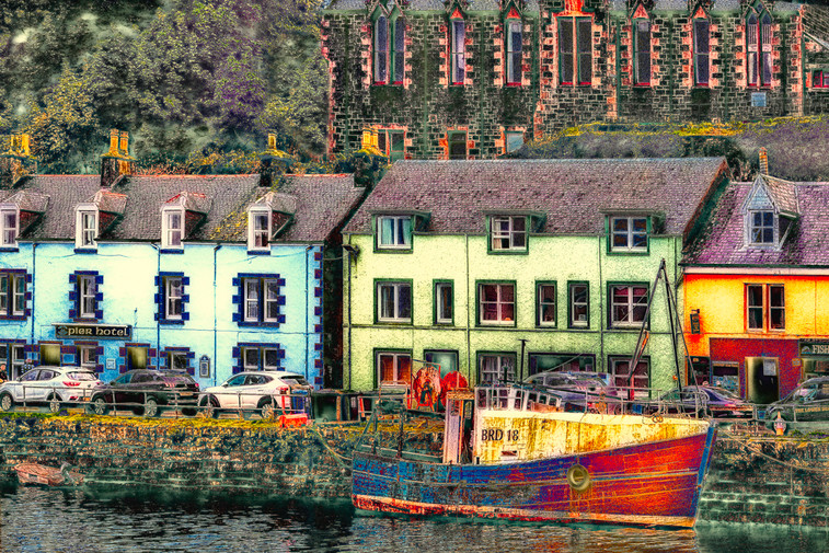 Colourful buildings on the Isle of Skye