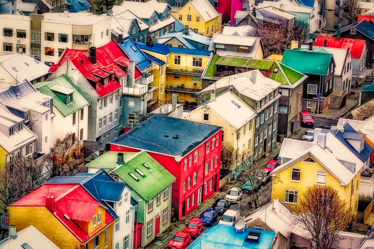 View of colourful houses, Rekyavik, Iceland