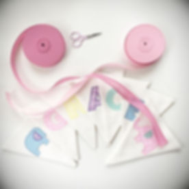 Now to decide what bunting tape to use. I have many colours to choose from for your personalised bun