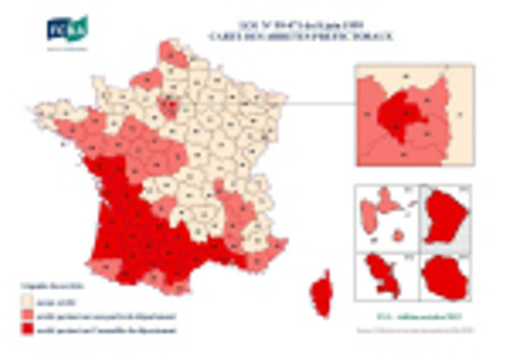 Les départements termités en France
