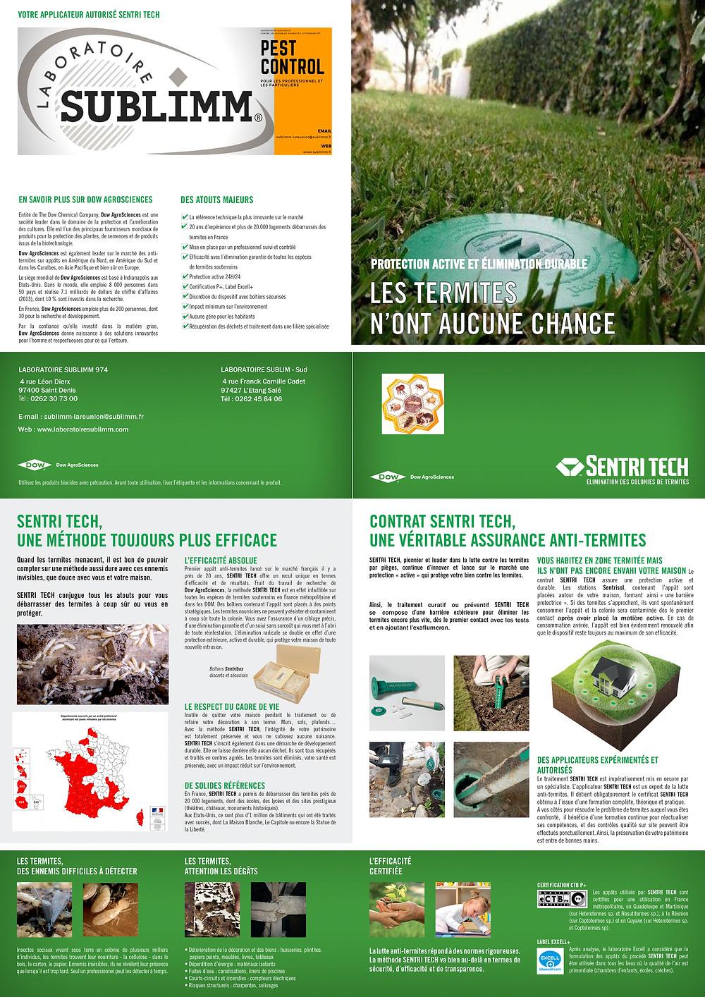 Brochure définissant le procédé Sentri-tech : traitement contre les termites avec le procédé pièges et appâts.
