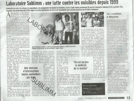 Sublimm Mayotte fait la Une : Mayotte-Hebdo
