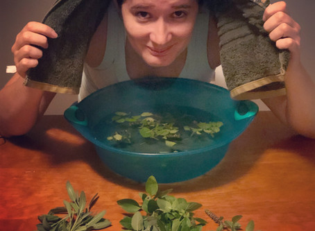 Inalação com ervas para gripes e resfriados