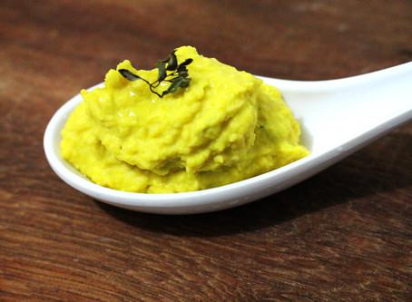 Homus de abóbora com tomilho-limão