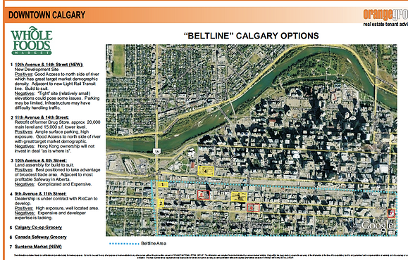 """An example map of new procurement optons in the """"Beltline"""" area of Calgay"""