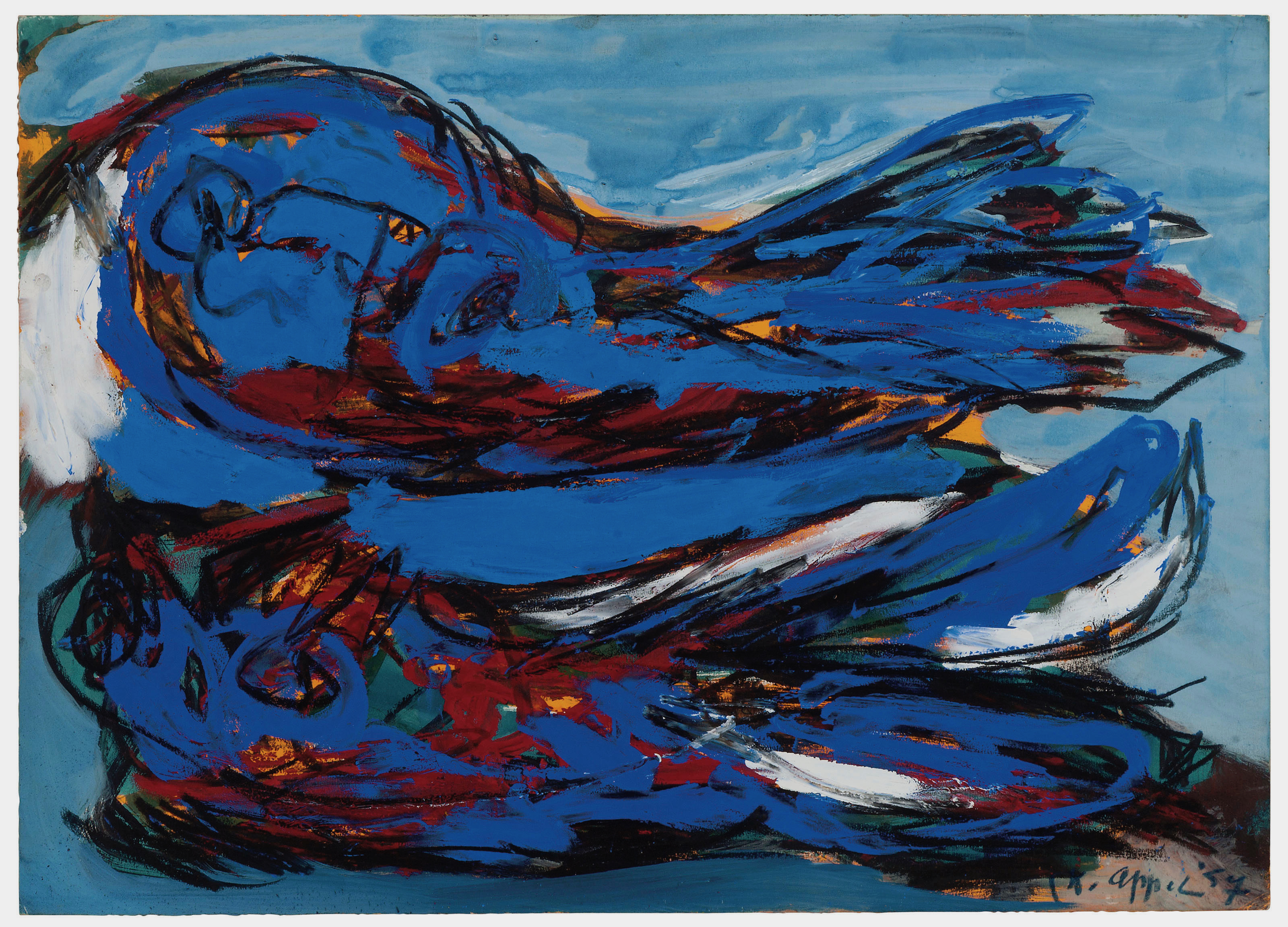 Karel Appel 1957 gouache