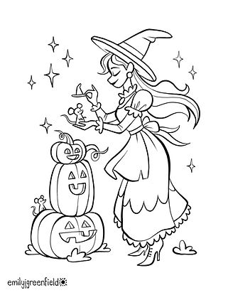 Free Witch Halloween Coloring Page