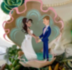 Handmade Disney style Paper Wedding Cake Topper