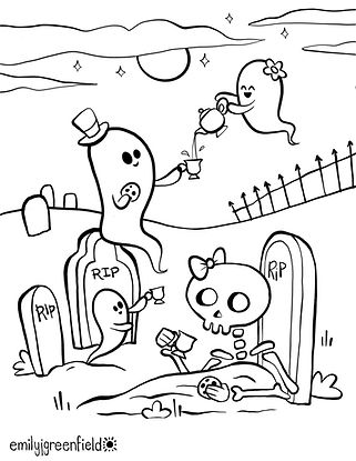 Free Graveyard Halloween Coloring Page