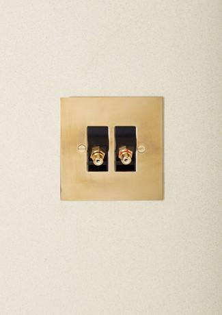 Aged Brass speaker outlet