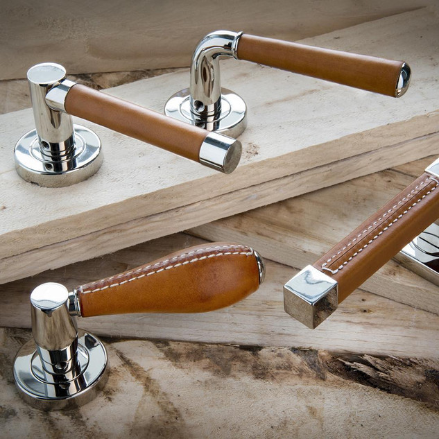 Tan leather and bright chrome handles