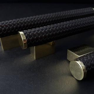 Brass and black amalfine woven coffin leg scroll