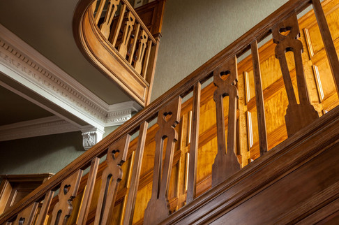 Wall panelling and staircase