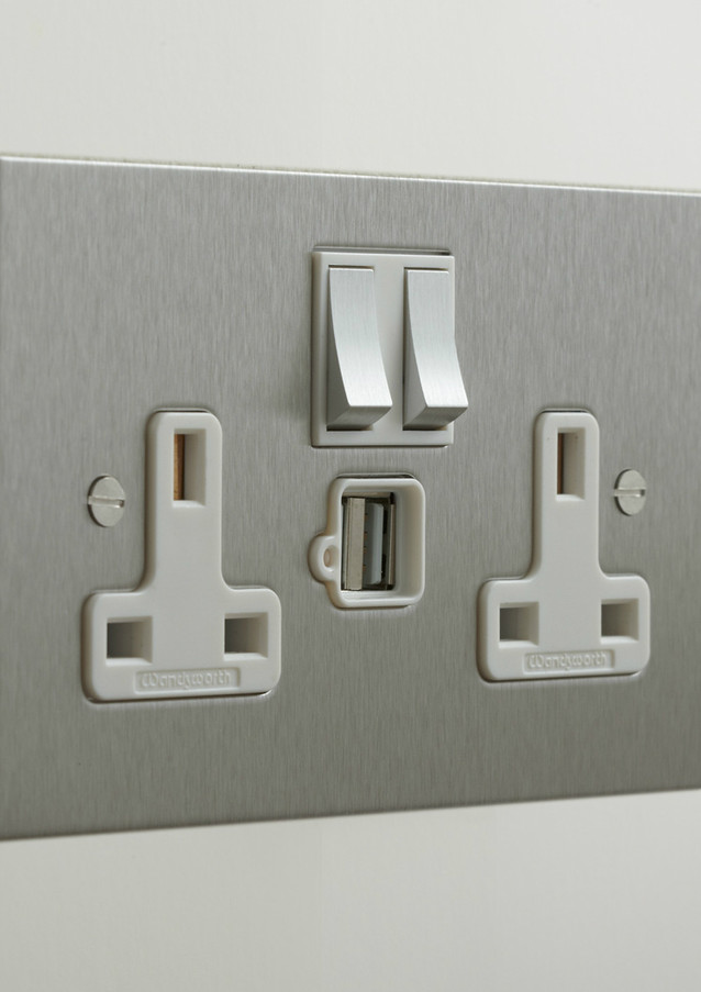 Stainless steel double 13amp socket